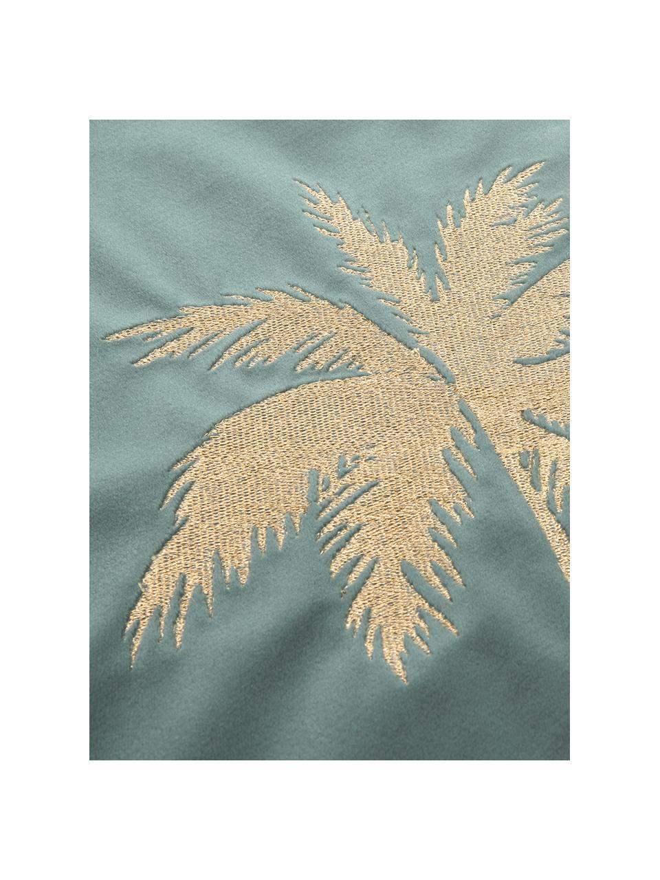Glanzende fluwelen kussenhoes Palmsprings met borduurwerk, 100% polyester fluweel, Mintgroen, goudkleurig, 40 x 40 cm