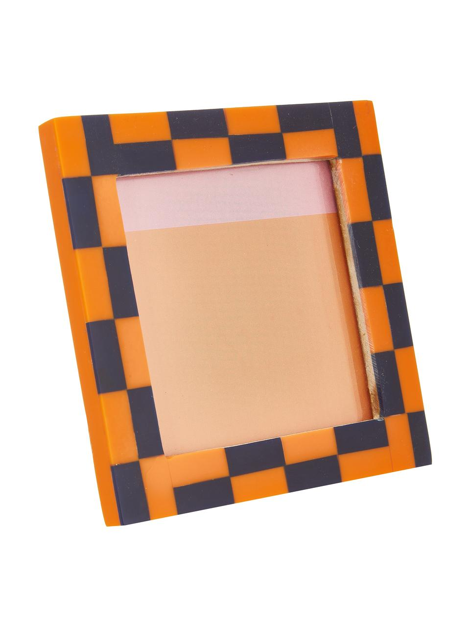 Bilderrahmen Check, Kunststoff, Orange, Blau, 10 x 10 cm