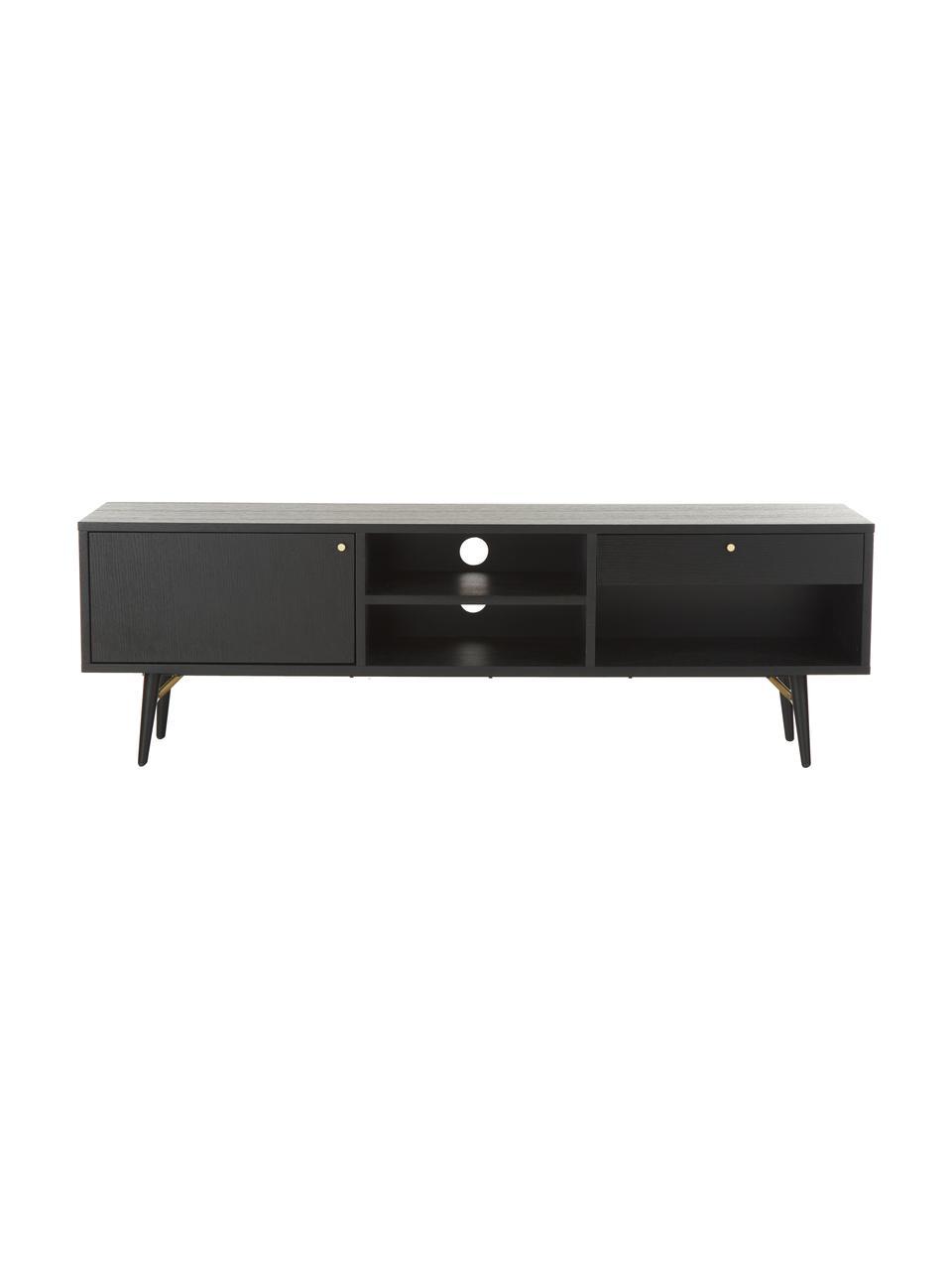 Schwarzes TV-Lowboard Verona, Korpus: Mitteldichte Holzfaserpla, Beine: Metall, pulverbeschichtet, Schwarz, 160 x 50 cm