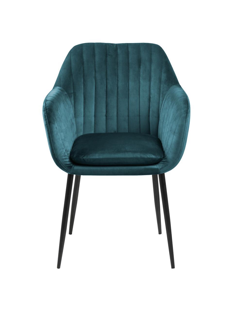 Krzesło z aksamitu z podłokietnikami i metalowymi nogami Emilia, Tapicerka: aksamit poliestrowy Dzięk, Nogi: metal lakierowany, Aksamit niebieski, czarny, S 57 x G 59 cm