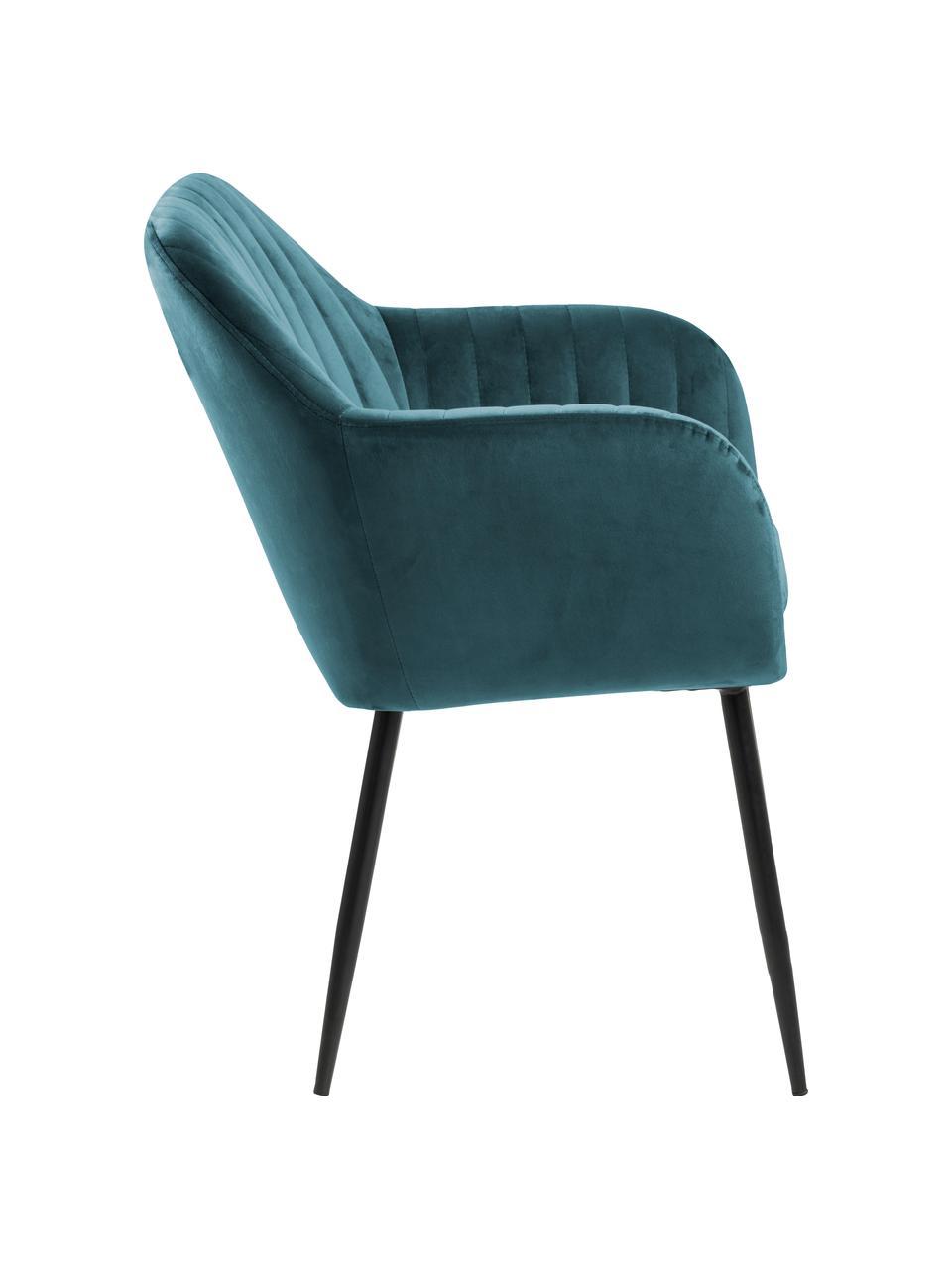 Chaise velours bleu vert avec accoudoirs Emilia, Velours bleu, pieds noir