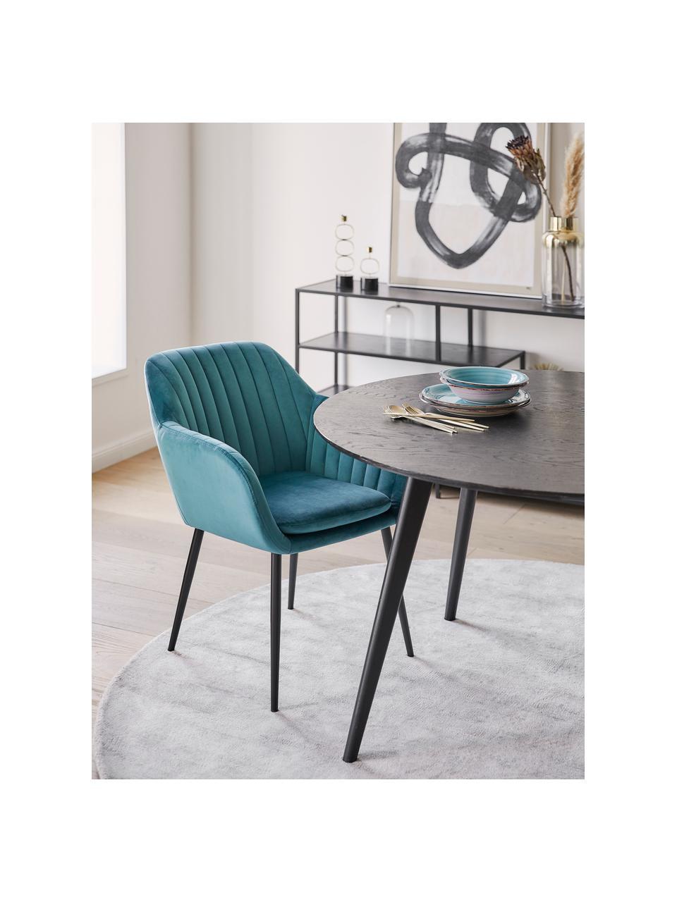 Sametová židle spodručkami a kovovými nohami Emilia, Láhvově zelená Nohy: černá
