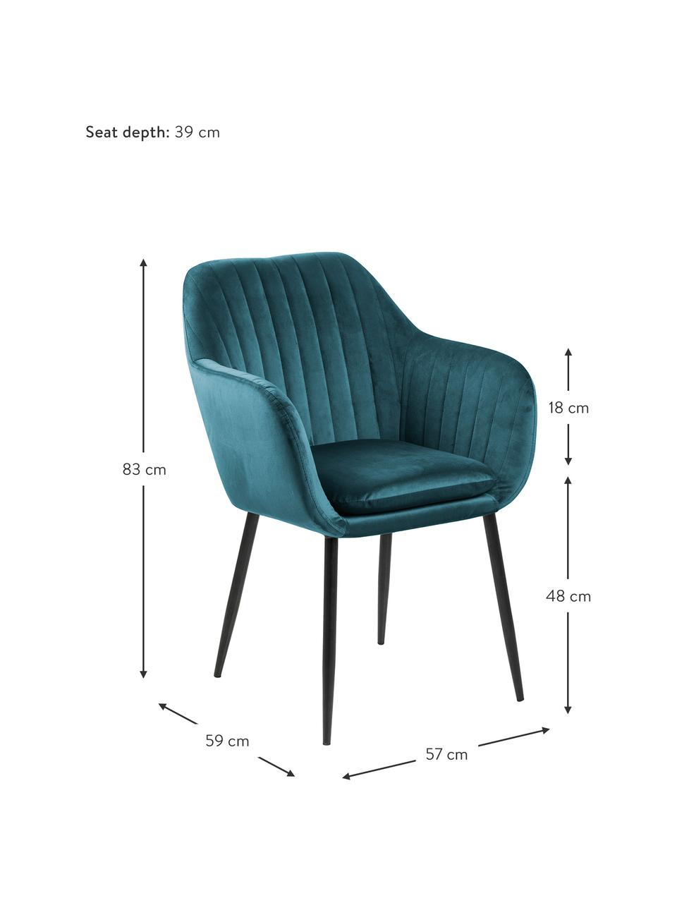 Krzesło z podłokietnikami z aksamitu i metalowymi nogami Emilia, Tapicerka: aksamit poliestrowy Dzięk, Nogi: metal lakierowany, Aksamitny niebieski, czarny, S 57 x G 59 cm