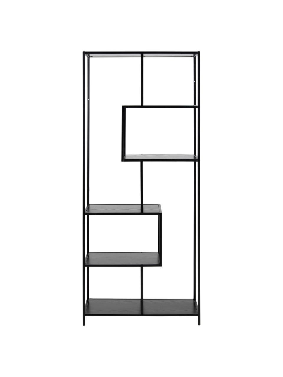 Libreria in legno e metallo Seaford, Ripiani: pannelli di fibra a media, Struttura: metallo, verniciato a pol, Nero, Larg. 77 x Alt. 185 cm