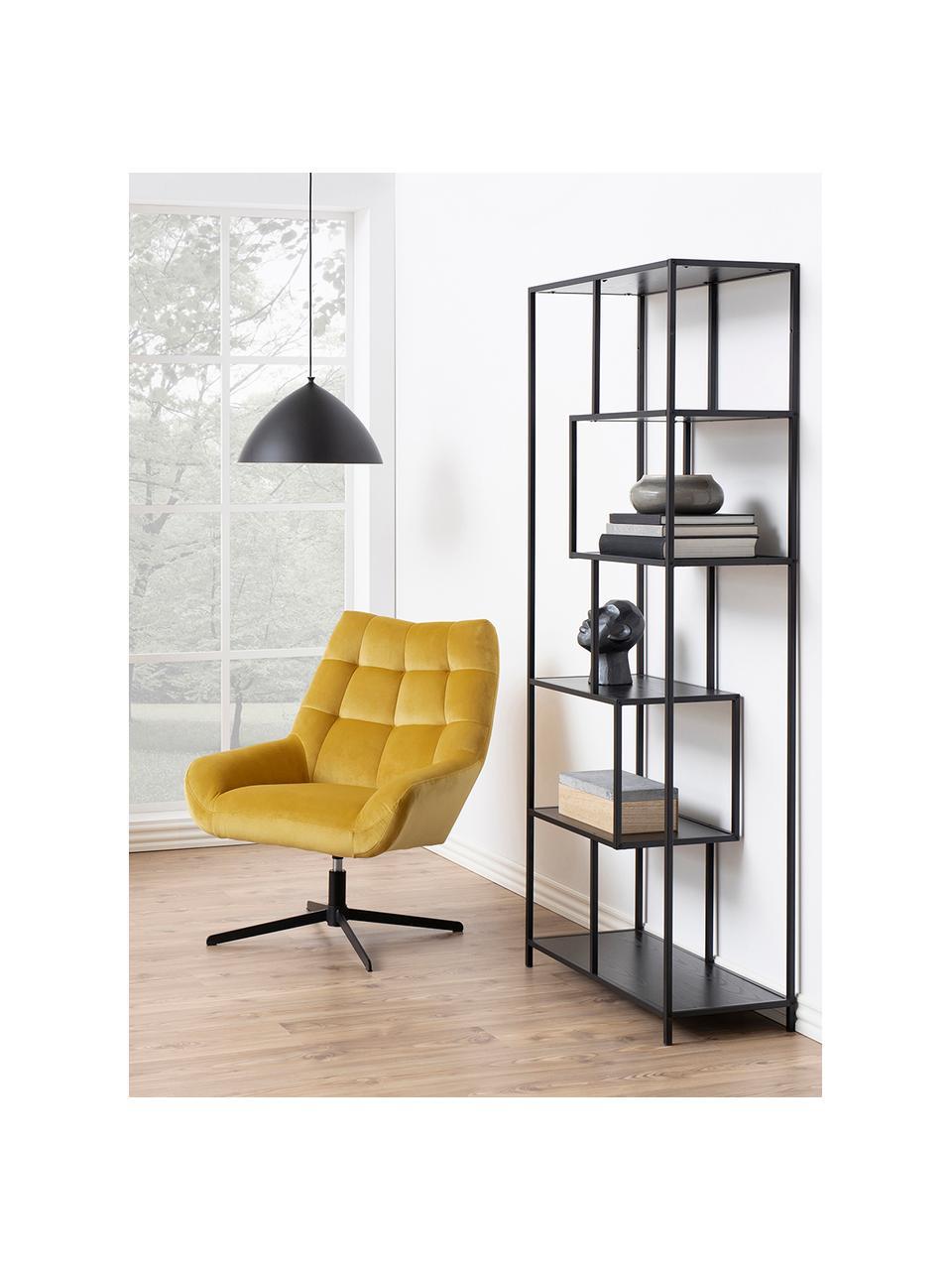 Libreria in legno e metallo Seaford, Ripiani: pannello di fibra a media, Struttura: metallo verniciato a polv, Nero, Larg. 77 x Alt. 185 cm
