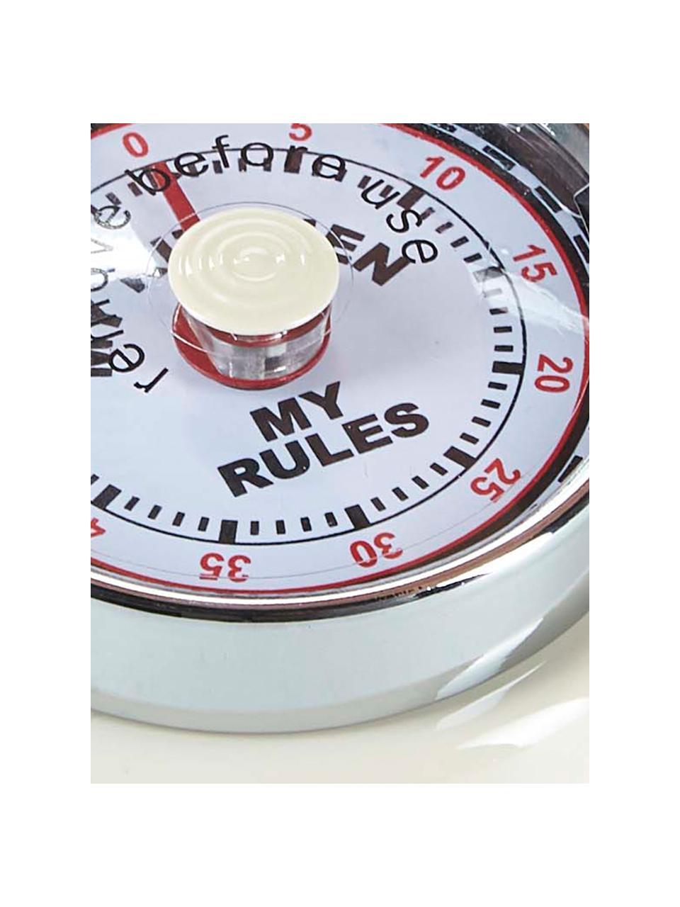 Eieruhr My Rules im Retro Style, Metall, beschichtet, Kunststoff, Weiß, Ø 7 x H 3 cm