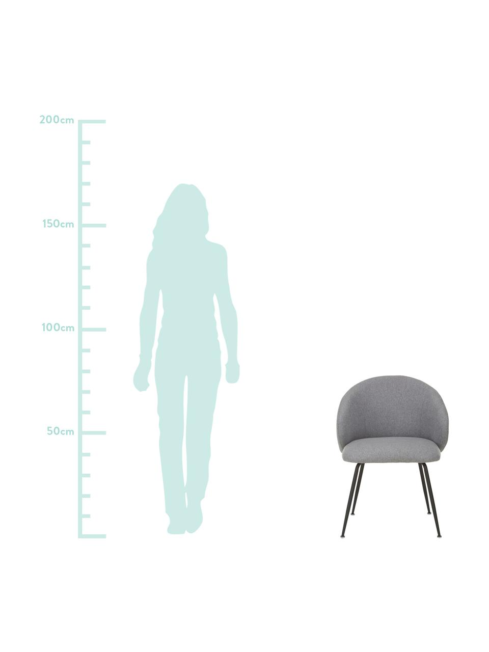 Krzesło tapicerowane Luisa, 2 szt., Tapicerka: 100% poliester Dzięki tka, Nogi: metal malowany proszkowo, Szary, czarny, S 59 x G 58 cm