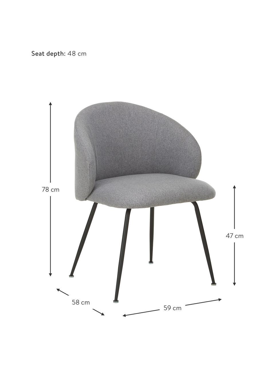 Gestoffeerde stoelen Luisa, 2 stuks, Poten: gepoedercoat metaal, Geweven stof grijs, zwart, B 61 x D 58 cm