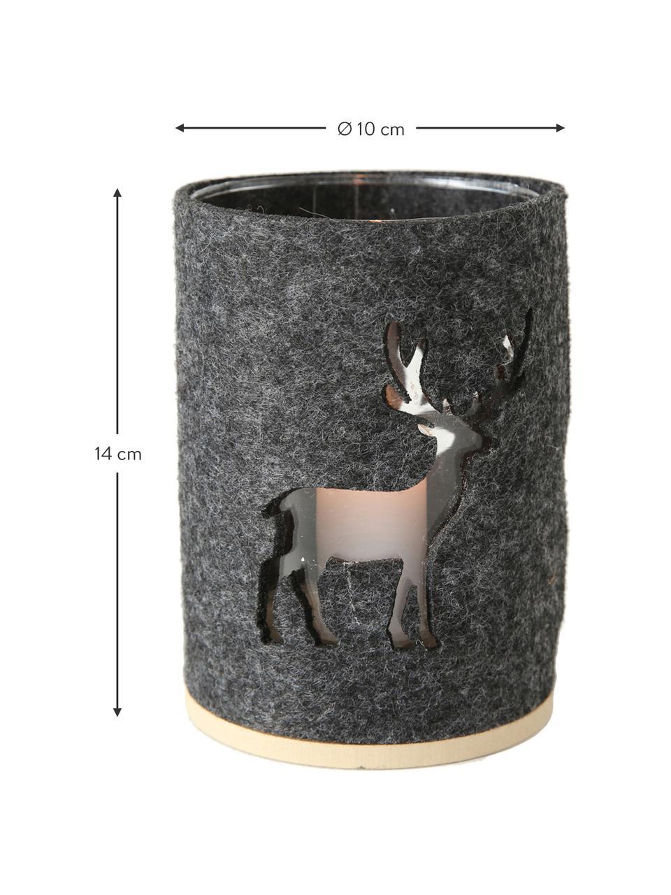 Windlichter-Set Tjark, 2-tlg., Windlicht: Glas, Sockel: Mitteldichte Holzfaserpla, Hülle: Polyesterfilz, Grau, Dunkelgrau, Ø 10 x H 14 cm