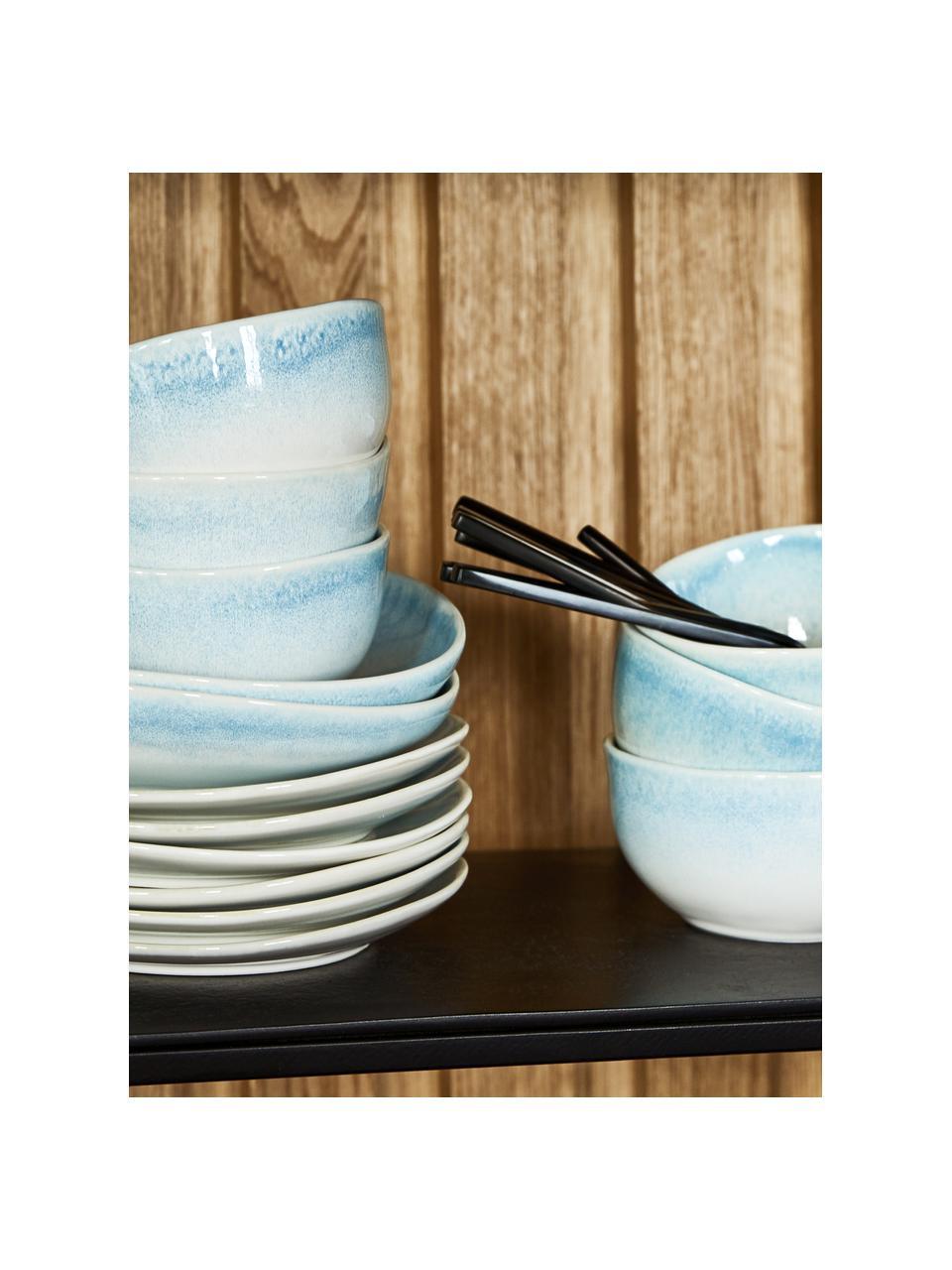 Piatto fondo fatto a mano Amalia 2 pz, Porcellana, Azzurro, bianco crema, Ø 20 cm