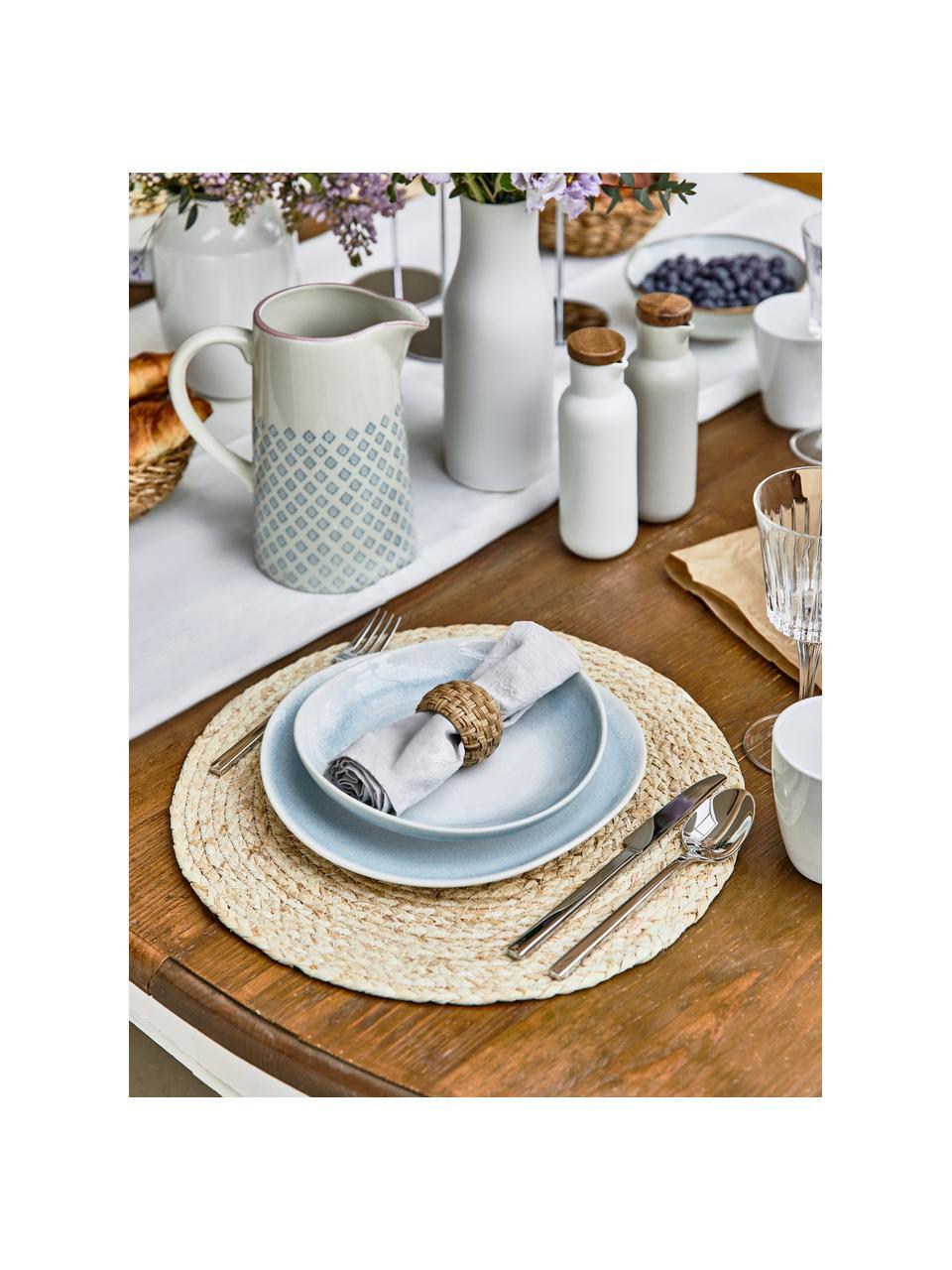 Ręcznie wykonany talerz głęboki Amalia, 2 szt., Porcelana, Jasny niebieski, kremowy, Ø 20 cm
