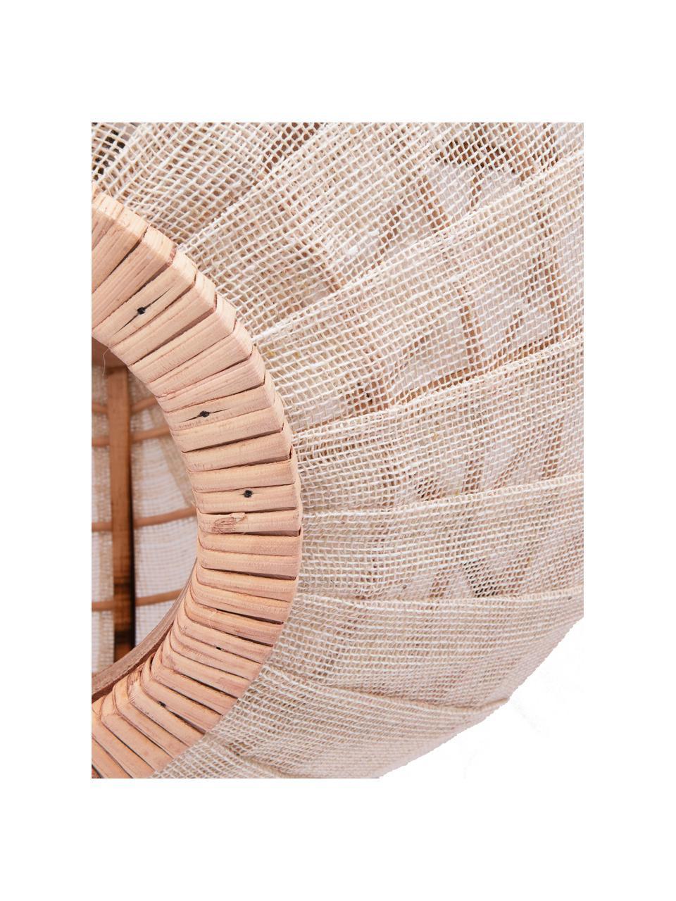 Lampada a sospensione in rattan e lino Borneo, Paralume: lino, Struttura: rattan, Baldacchino: metallo rivestito, Beige, bianco latteo, Ø 43 x Alt. 26 cm