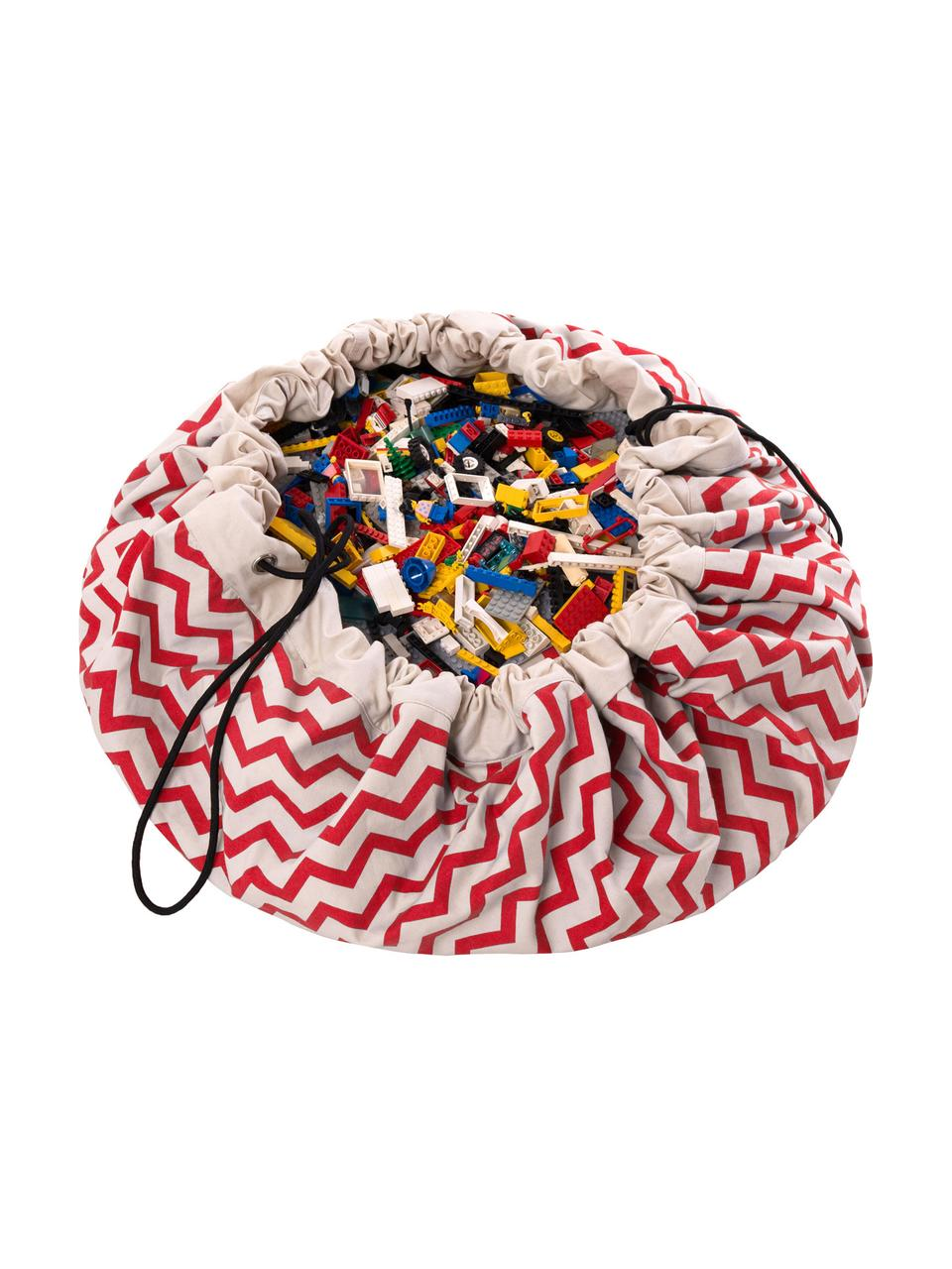 Speeldeken Zigzag, Polyester, Rood, wit, Ø 140 cm