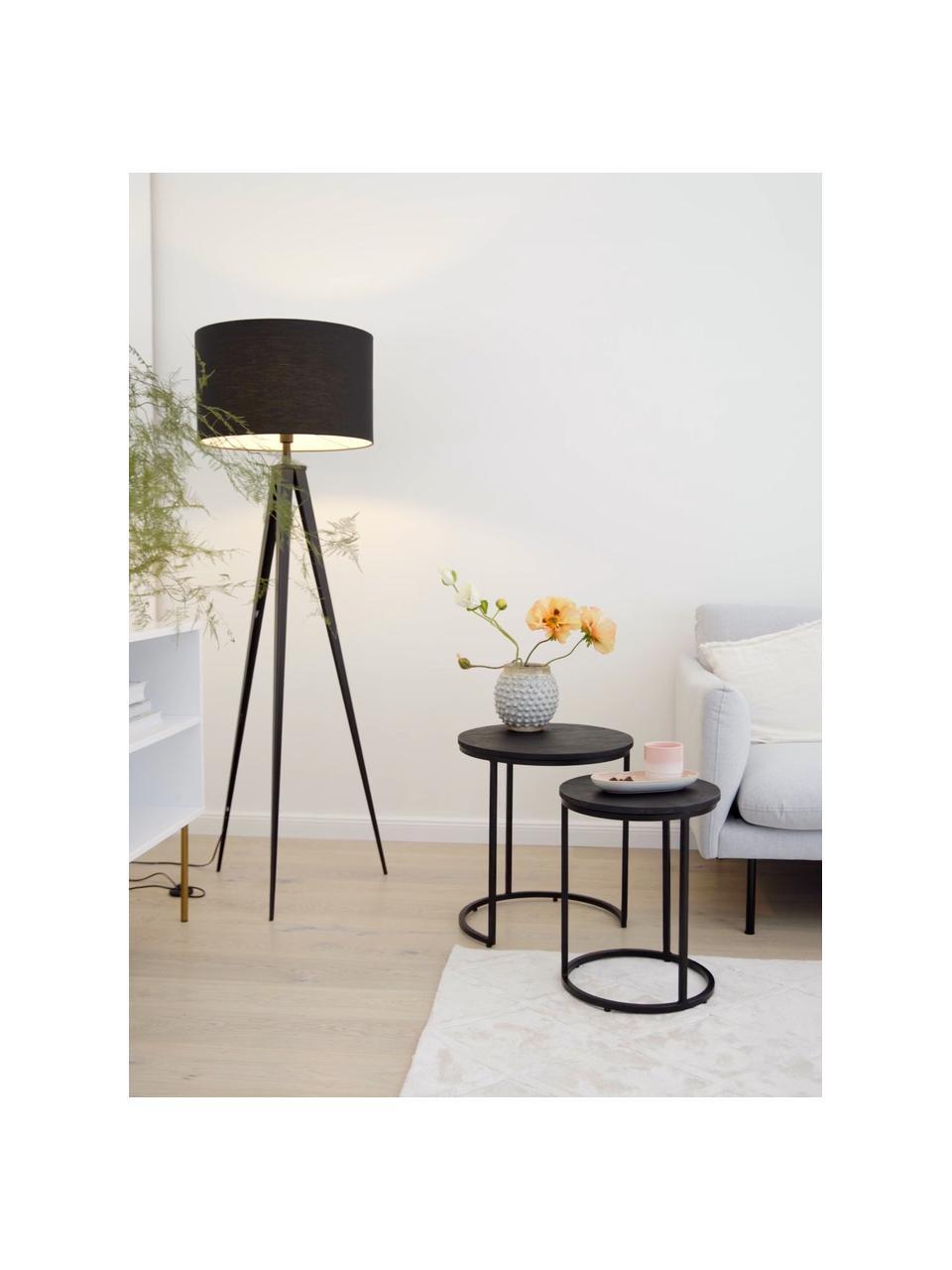 Zwarte bijzettafelset Andrew, 2-delig, Frame: gepoedercoat metaal, Tafelblad: zwart gelakt mangohout. Frame: mat zwart, Verschillende formaten