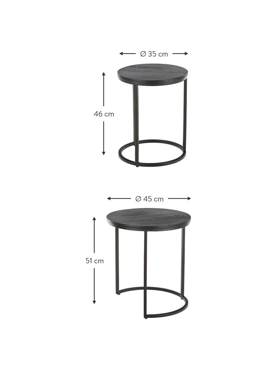 Schwarzes Beistelltisch-Set Andrew, 2-tlg., Schwarz, Sondergrößen