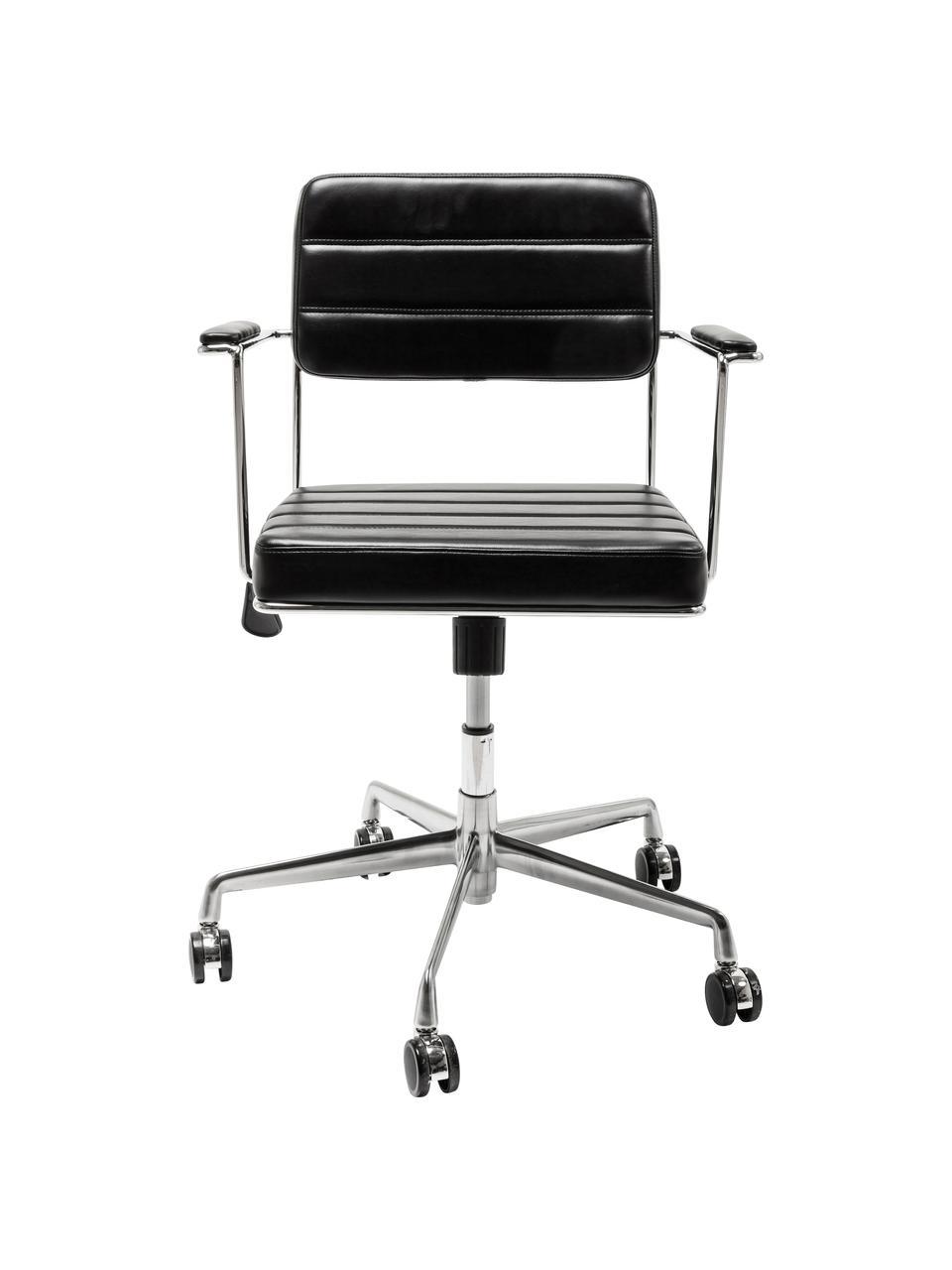 Krzesło biurowe ze sztucznej skóry Dottore, obrotowe, Tapicerka: sztuczna skóra (100% tkan, Stelaż: stal chromowana, Czarny, chrom, S 44 x G 50 cm