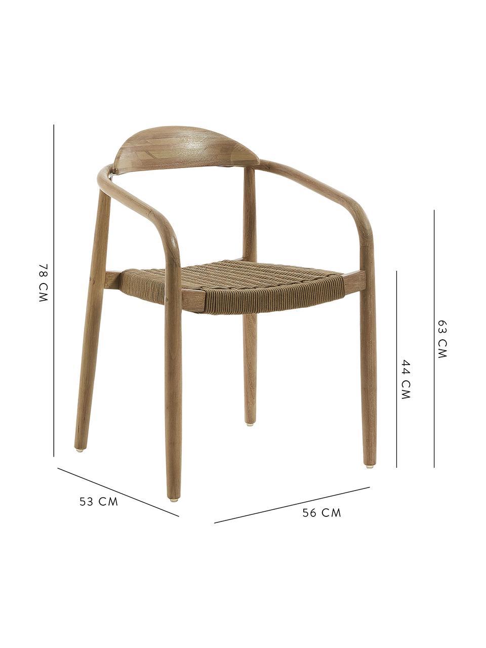 Sedia in legno con braccioli Nina, Struttura: legno di eucalipto massic, Seduta: corda in poliestere, Marrone, Larg. 56 x Prof. 53 cm