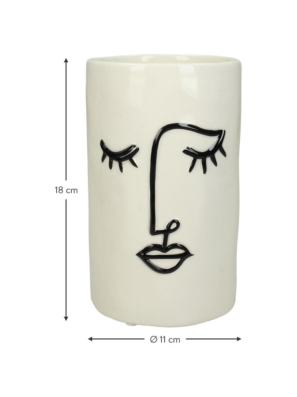 Mała osłonka na doniczkę z kamionki Face, Kamionka, Złamana biel, czarny, Ø 11 x W 18 cm