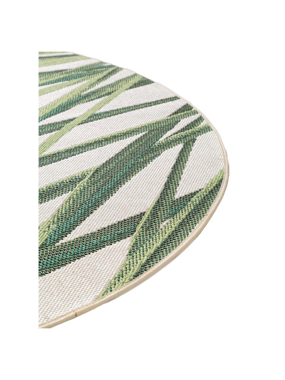 Runder In- & Outdoor-Teppich Capri mit Blattmotiv, 100% Polypropylen, Grün, Beige, Ø 160 cm (Größe L)