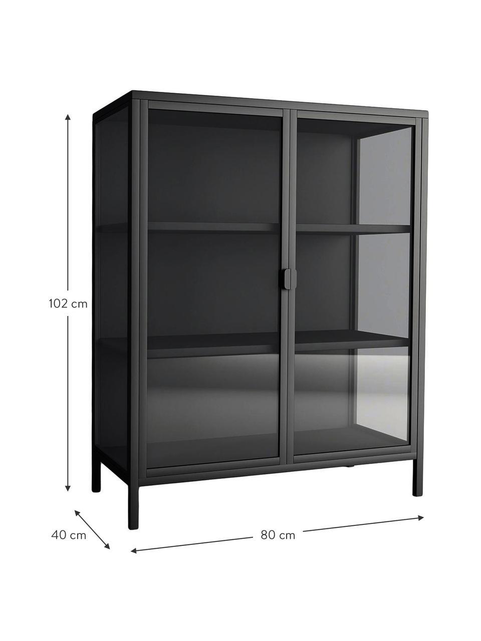Vetrina nera con struttura in metallo nero Brisbane, Struttura: metallo rivestito, Antracite, trasparente, Larg. 80 x Alt. 102 cm