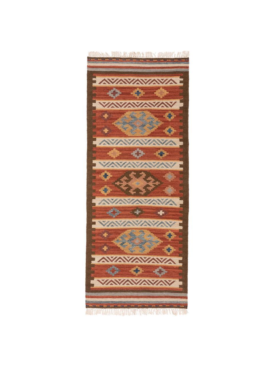 Ręcznie tkany chodnik/kilim z wełny Zohra, Czerwony, wielobarwny, S 80 x D 200 cm