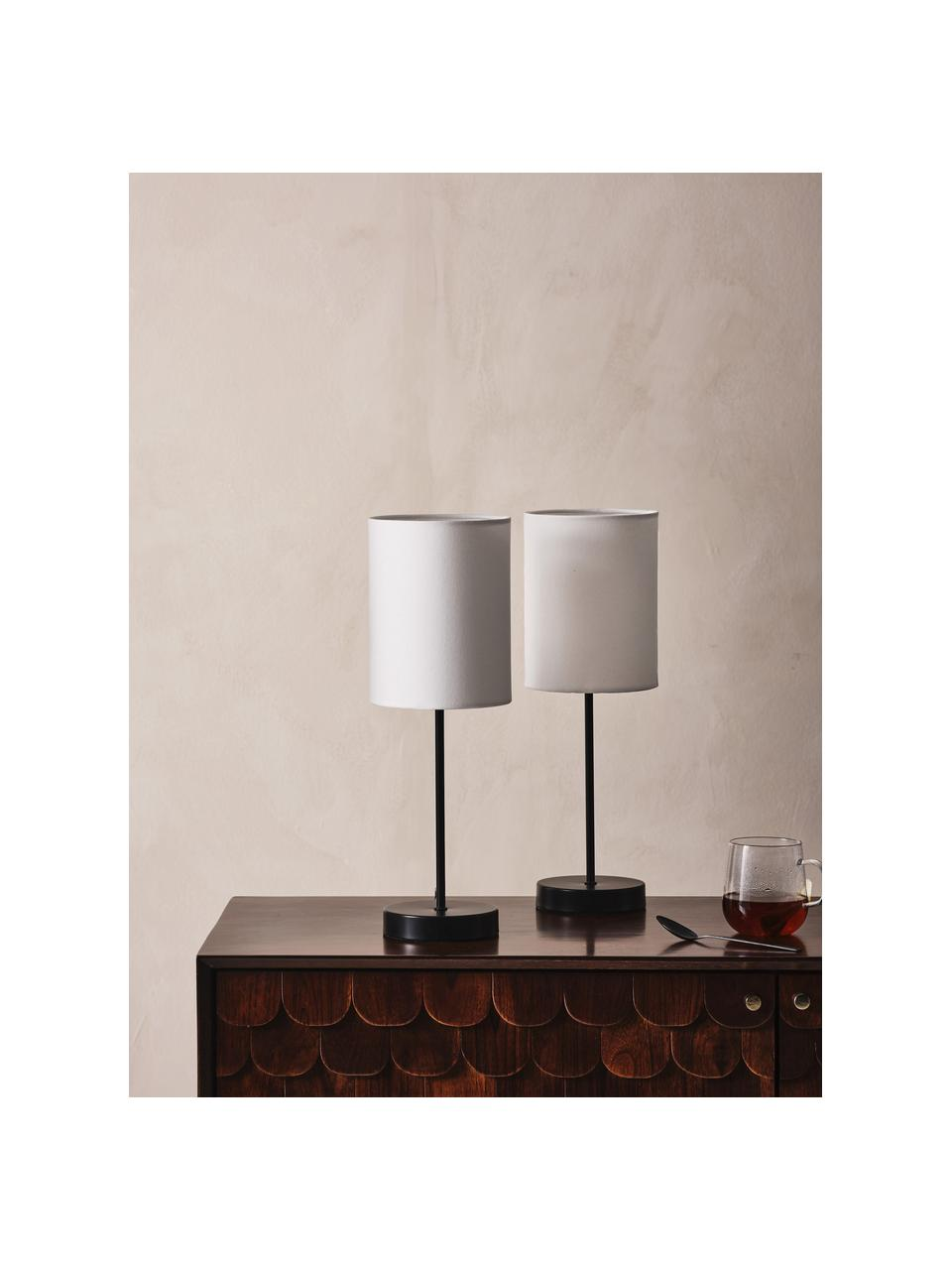 Lampada da tavolo con paralume in tessuto Seth 2 pz, Paralume: tessuto, Base della lampada: metallo verniciato, Struttura: metallo verniciato, Nero, bianco, Ø 15 x Alt. 45 cm