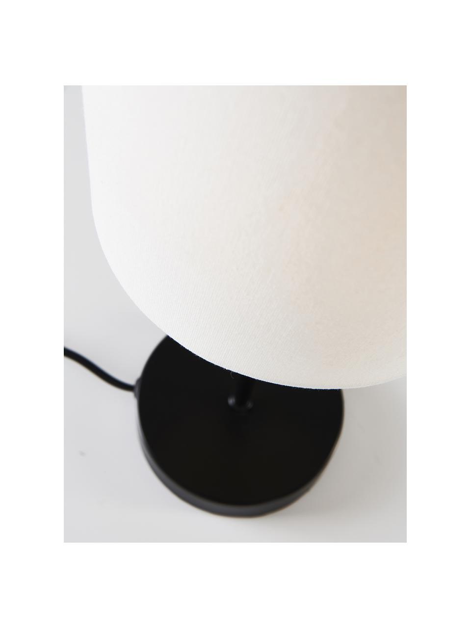 Klassische Nachttischlampen Seth, 2 Stück, Lampenschirm: Textil, Lampenfuß: Metall, lackiert, Schwarz, Weiß, Ø 15 x H 45 cm