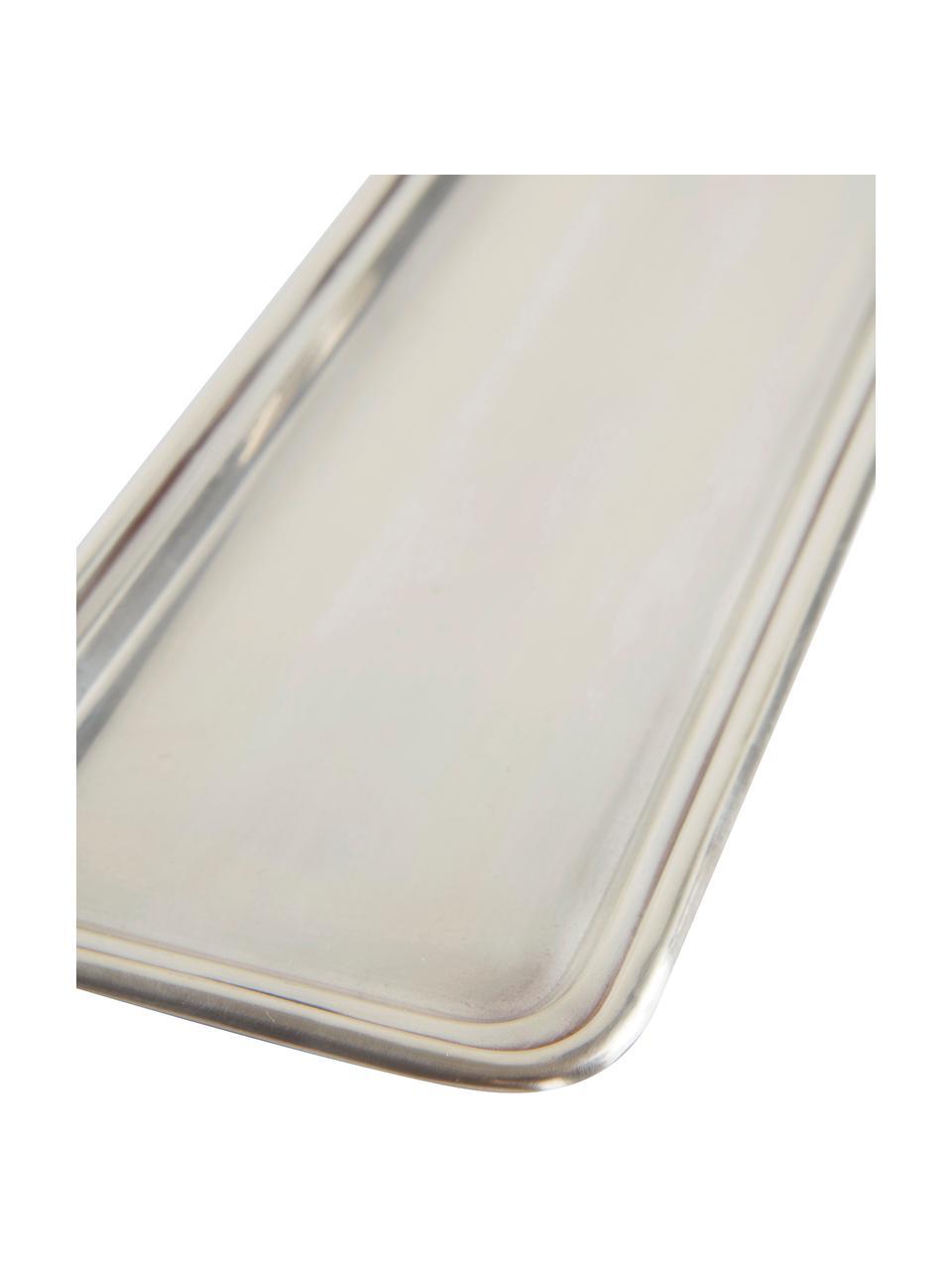 Tablett Zoe, Metall, Silberfarben, B 34 x T 13 cm
