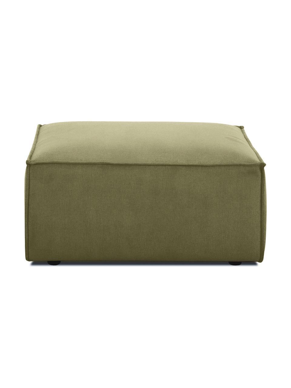 Poggiapiedi da divano in tessuto verde Lennon, Rivestimento: poliestere Il rivestiment, Struttura: legno di pino massiccio, , Piedini: materiale sintetico I pie, Tessuto verde, Larg. 88 x Alt. 43 cm