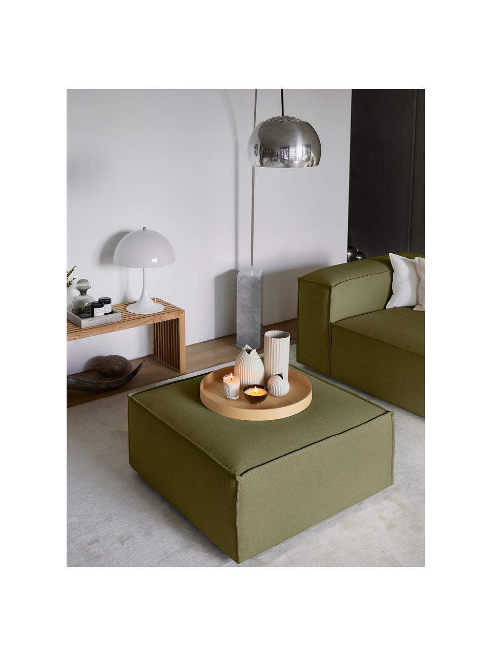 Voetenbank Lennon in groen, Bekleding: 100% polyester, Frame: massief grenenhout, multi, Poten: kunststof, Geweven stof groen, 88 x 43 cm
