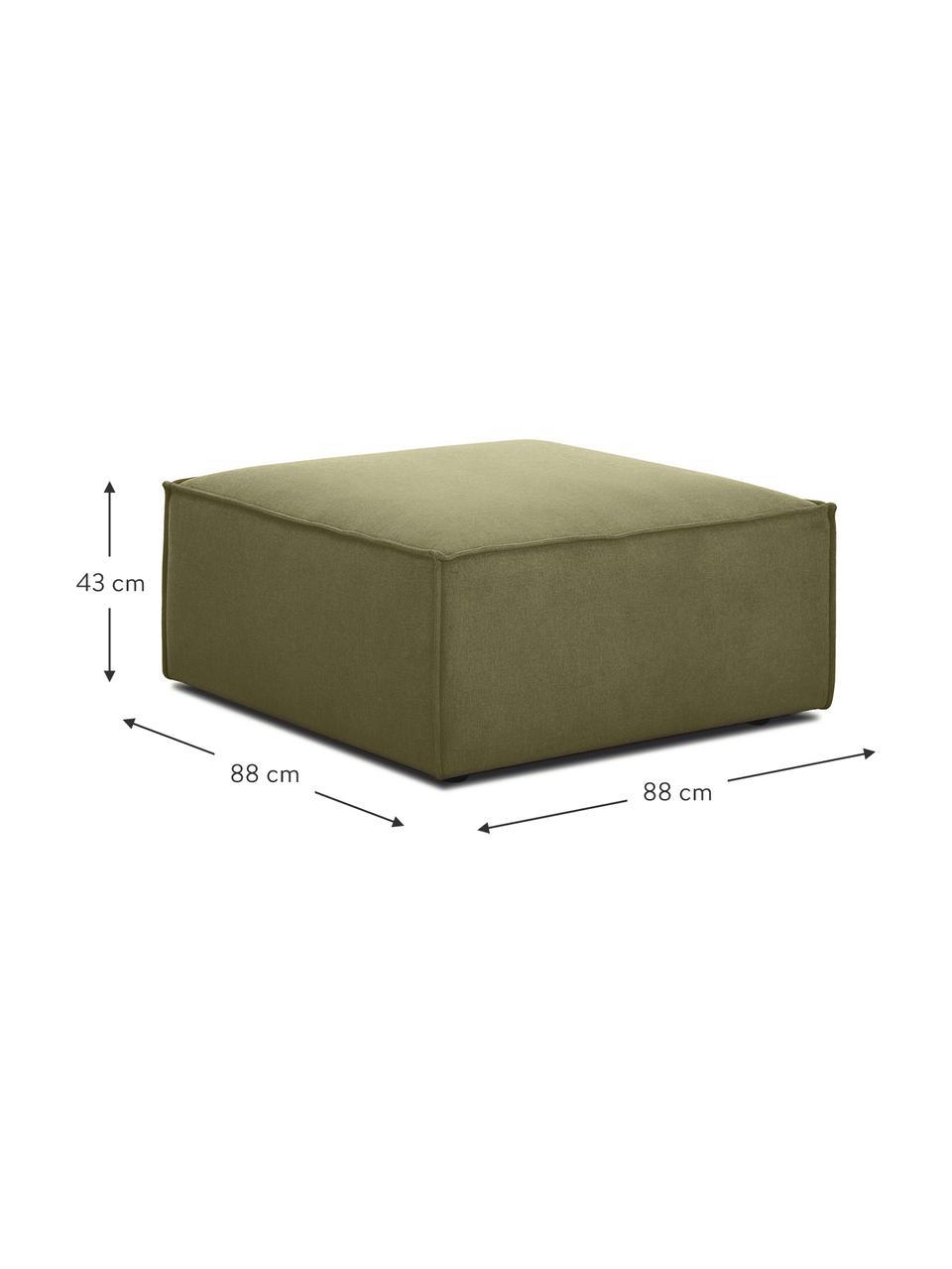 Poggiapiedi da divano in tessuto verde Lennon, Rivestimento: 100% poliestere Il rivest, Struttura: legno di pino massiccio, , Piedini: materiale sintetico I pie, Rivestimento: verde Piedini: nero, Larg. 88 x Alt. 43 cm