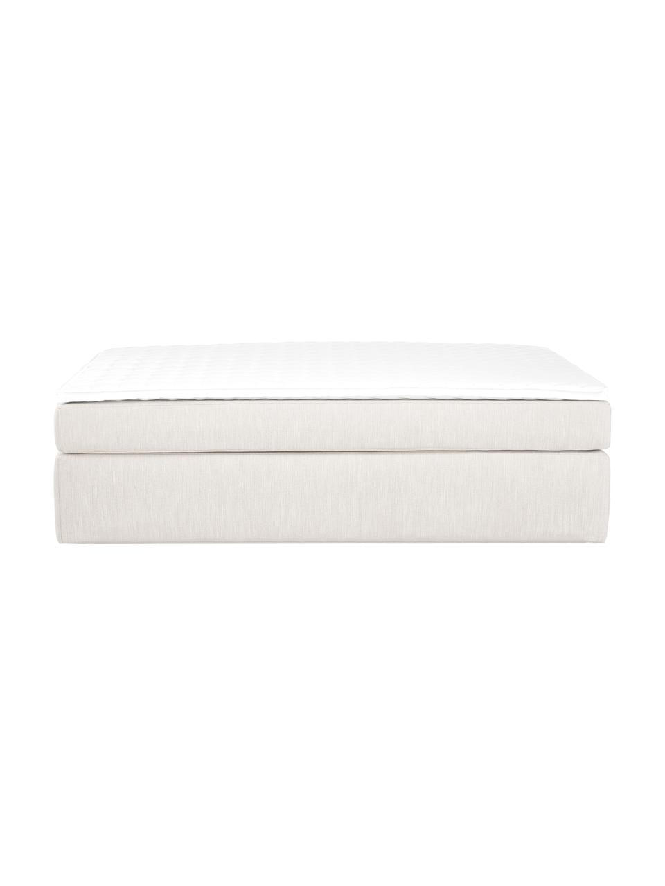 Lit à sommier tapissier beige clair sans tête de lit Enya, Tissu beige clair
