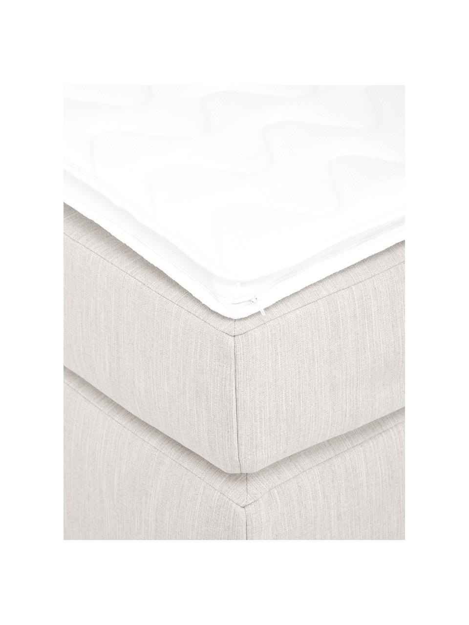 Boxspringbett Enya ohne Kopfteil in Hellbeige, Matratze: 5-Zonen-Taschenfederkern, Füße: Kunststoff, Webstoff Hellbeige, 200 x 200 cm