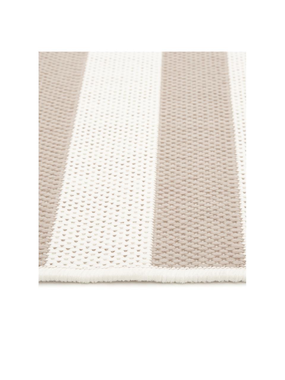 Gestreept in- & outdoor vloerkleed Axa in beige/wit, 86% polypropyleen, 14% polyester, Crèmewit, beige, B 200 x L 290 cm (maat L)