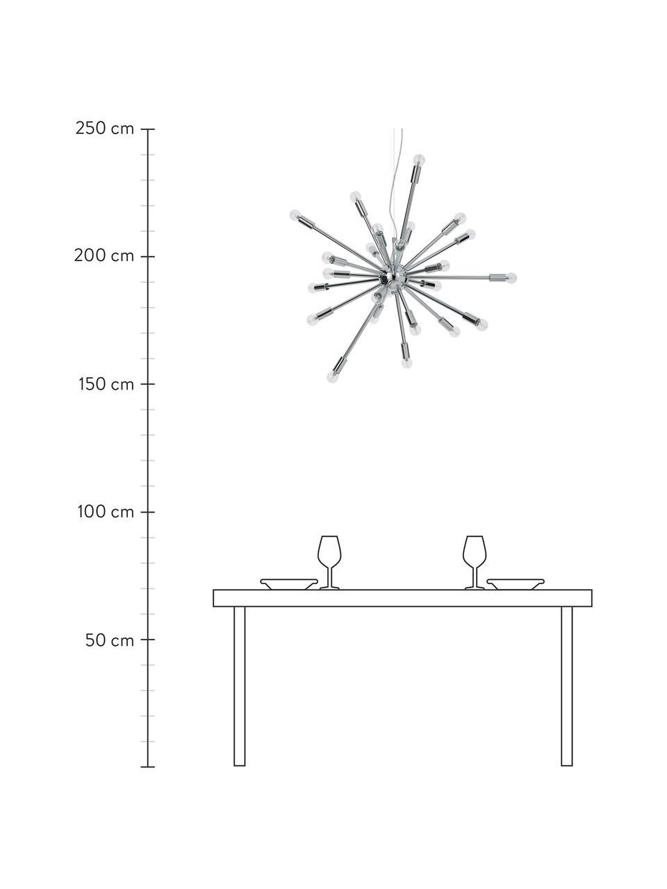 Grote hanglamp Spike in chroom, Baldakijn: verchroomd metaal, Lampenkap: verchroomd metaal, Baldakijn: chroomkleurig. Lampenkap: chroomkleurig. Snoer: transparant, Ø 90 cm