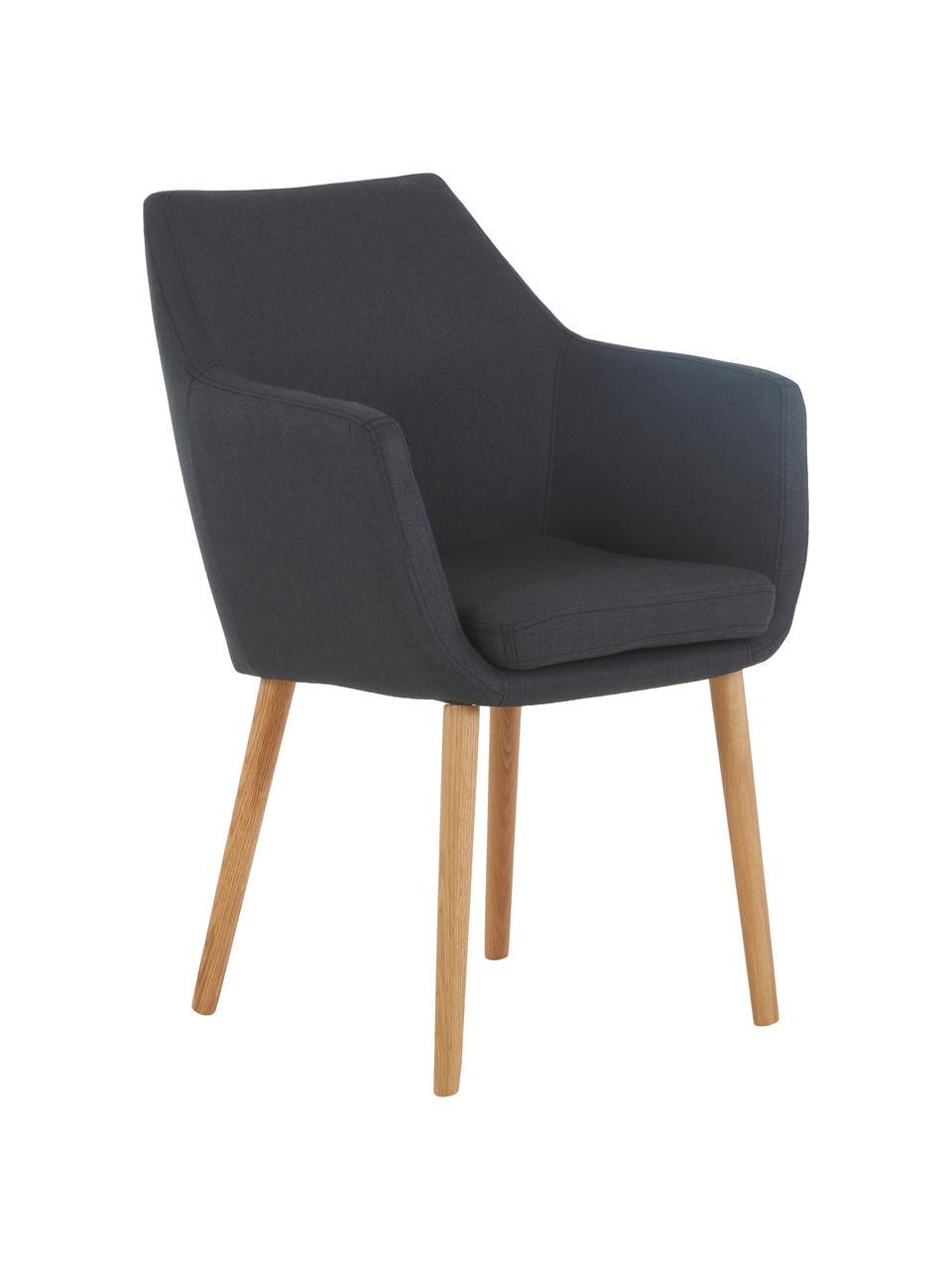 Sedia stile nordico con braccioli Nora, Rivestimento: 100% poliestere Il rivest, Gambe: legno di quercia, Tessuto antracite, gambe in quercia, Larg. 58 x Prof. 58 cm