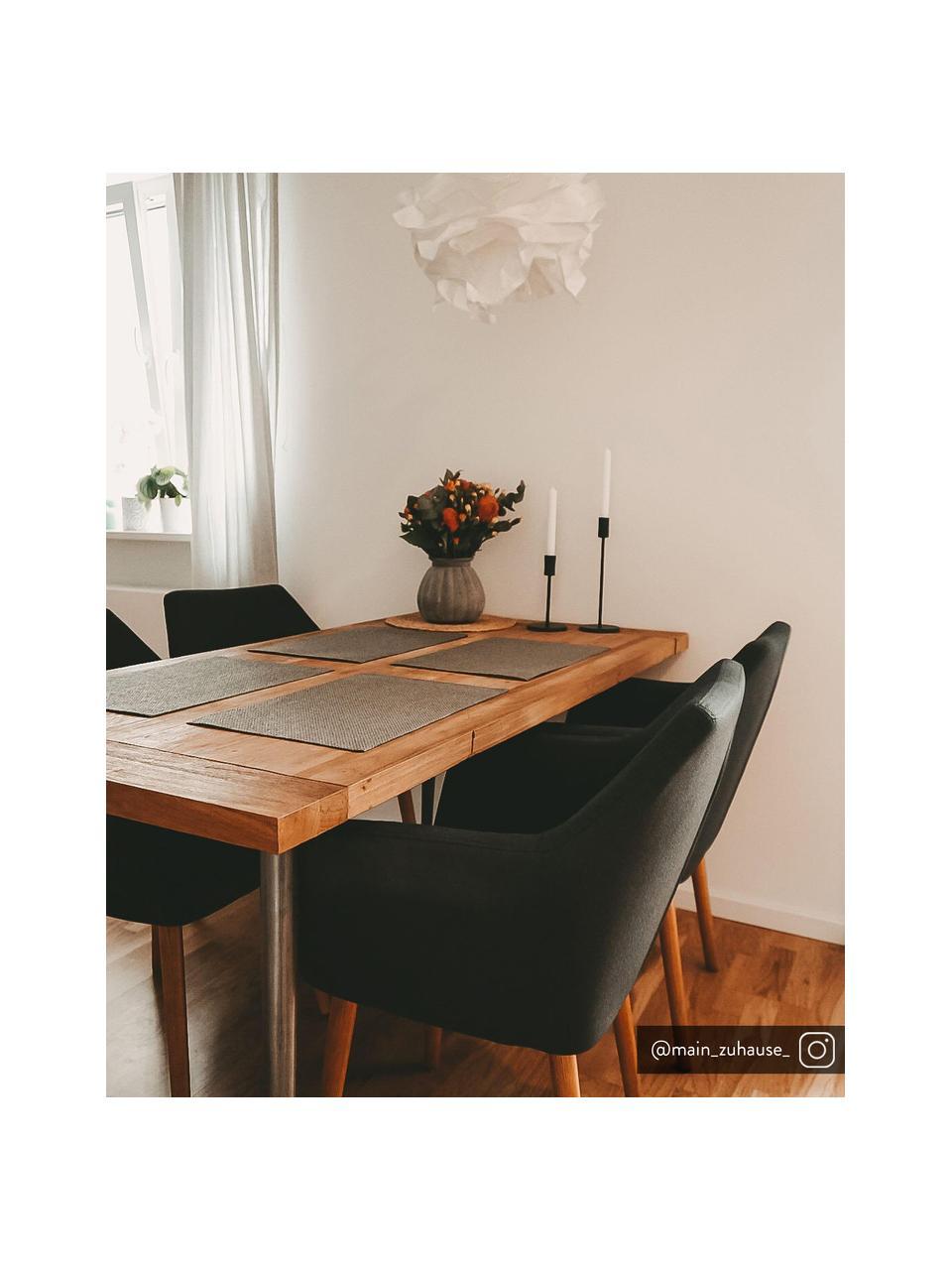 Armlehnstuhl Nora mit Holzbeinen, Bezug: 100% Polyester Der Bezug , Beine: Eichenholz, Webstoff Anthrazit, Beine Eiche, B 58 x T 58 cm
