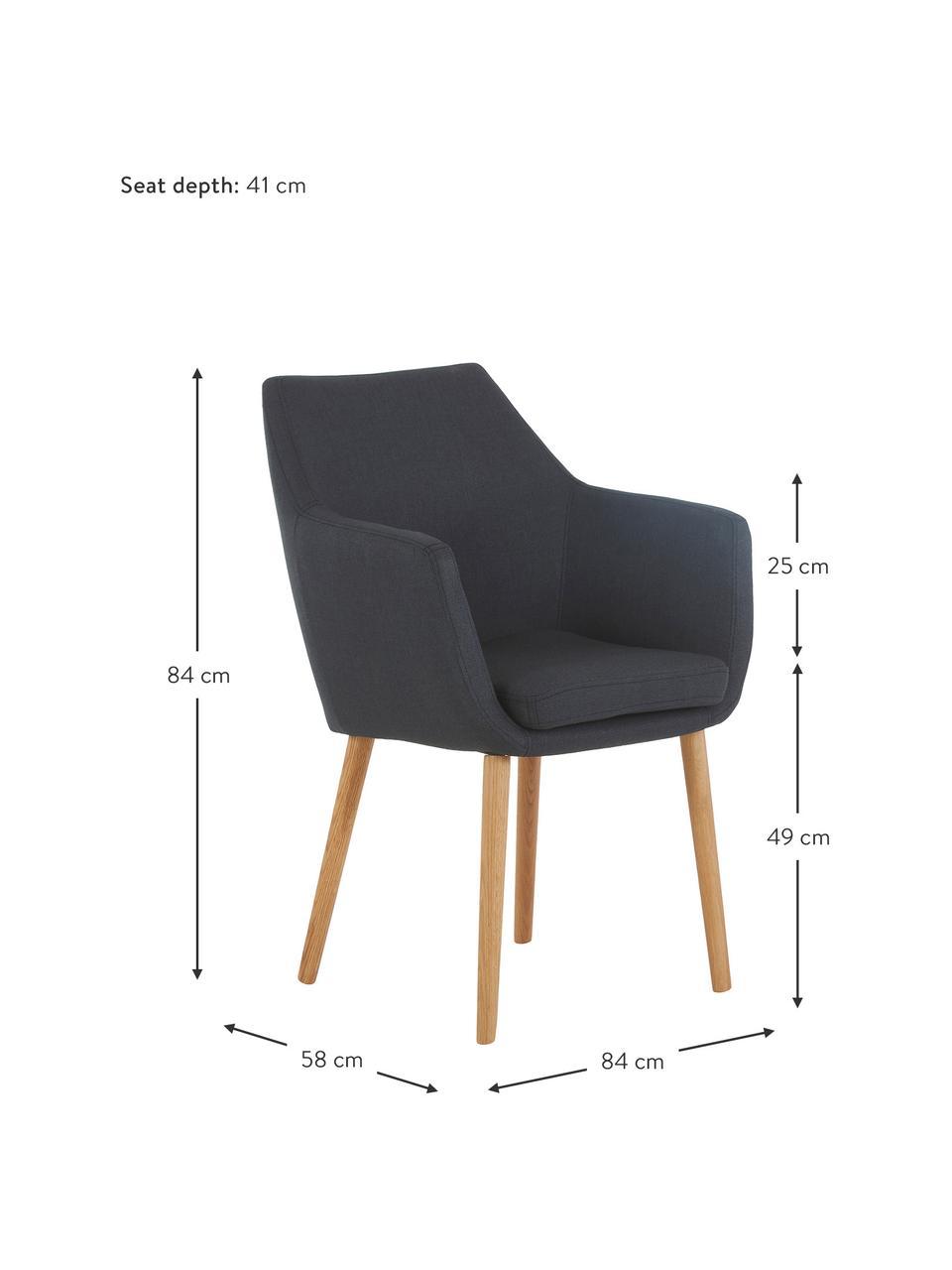 Krzesło z podłokietnikami Nora, Tapicerka: 100%poliester Dzięki tk, Nogi: drewno dębowe, Antracytowy, drewno dębowe, S 58 x G 58 cm