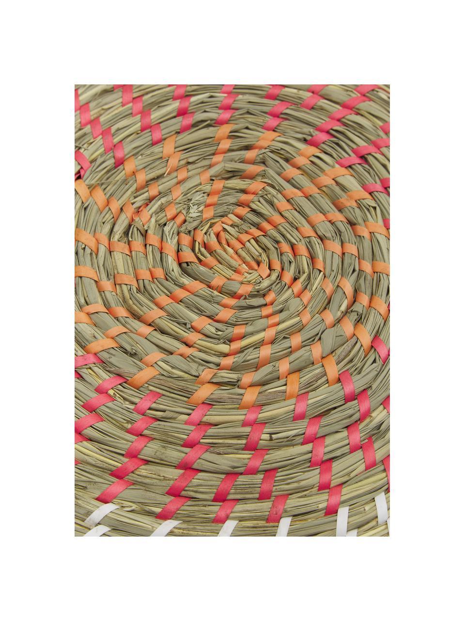 Sets de table ronds en fibres naturelles Mexico, 6élém., Multicolore