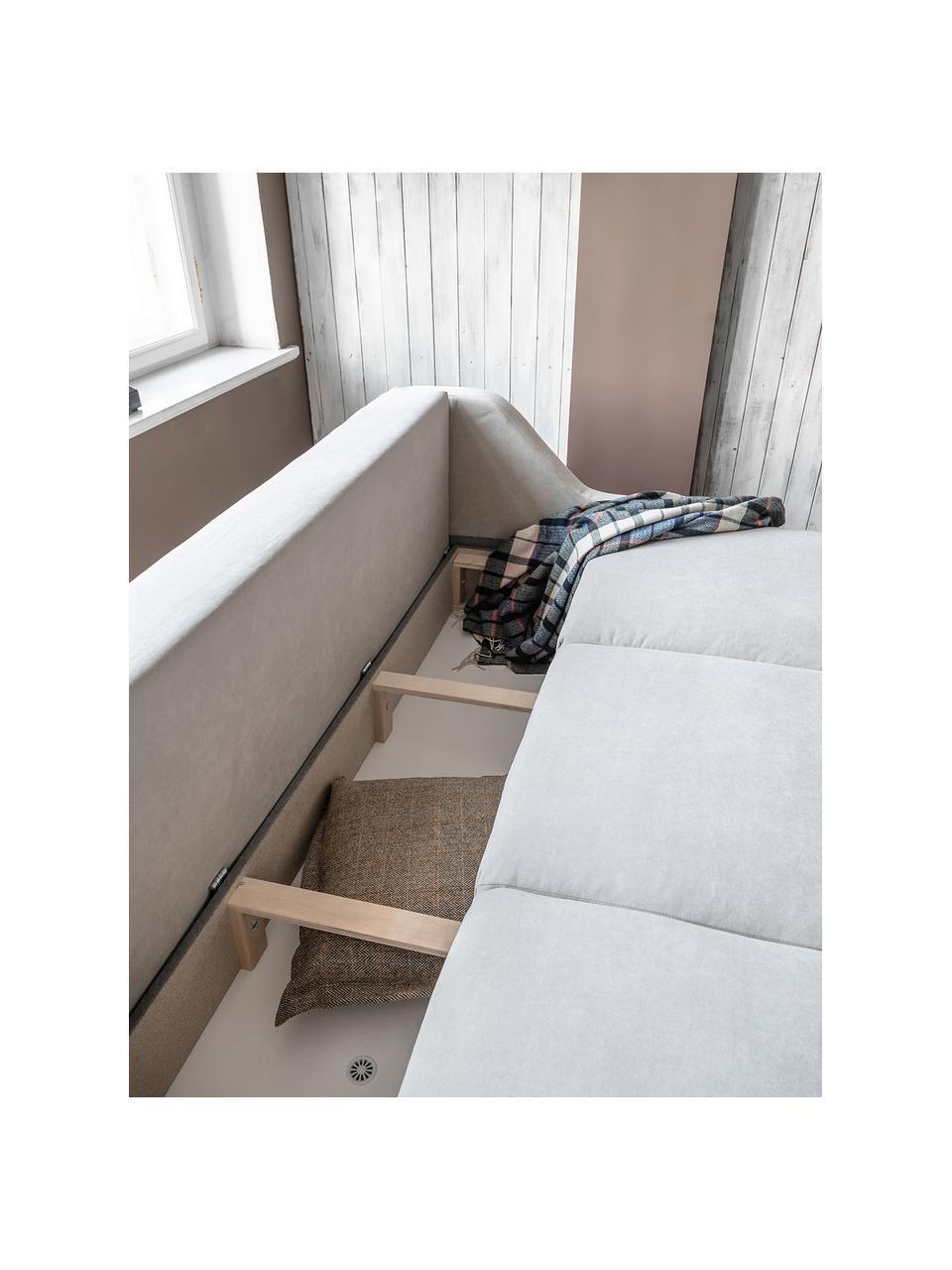 Divano letto 3 posti in tessuto beige Royal Rose, Rivestimento: 100% velluto di poliester, Struttura: legno, truciolato, Beige, Larg. 223 x Prof. 95 cm
