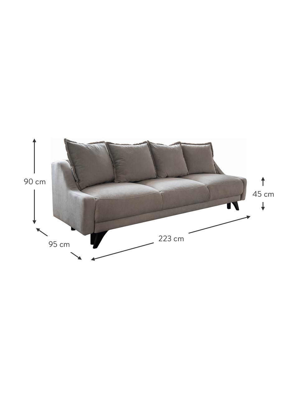 Sofa rozkładana z aksamitu Royal (3-osobowa), Beżowy, S 223 x G 95 cm