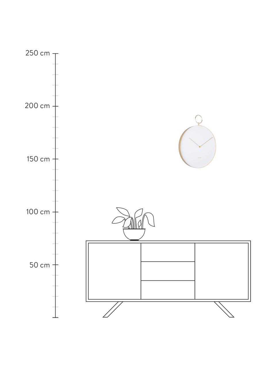 Wanduhr Hook, Metall, beschichtet, Weiß, Messingfarben, Ø 34 cm