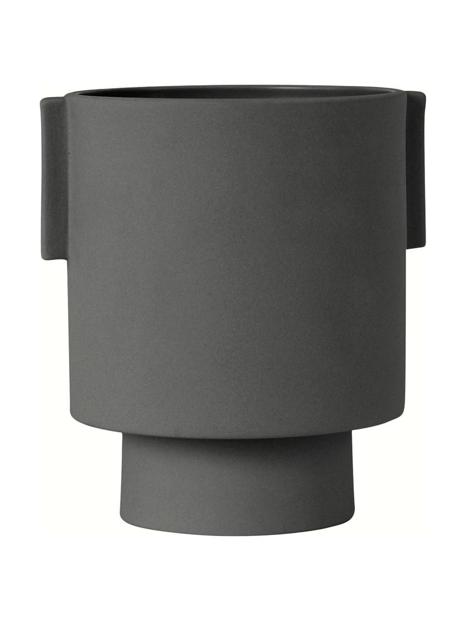 Ręcznie wykonana osłonka na doniczkę z ceramiki Ika Kana, Ceramika, Ciemny szary, Ø 15 x W 16 cm