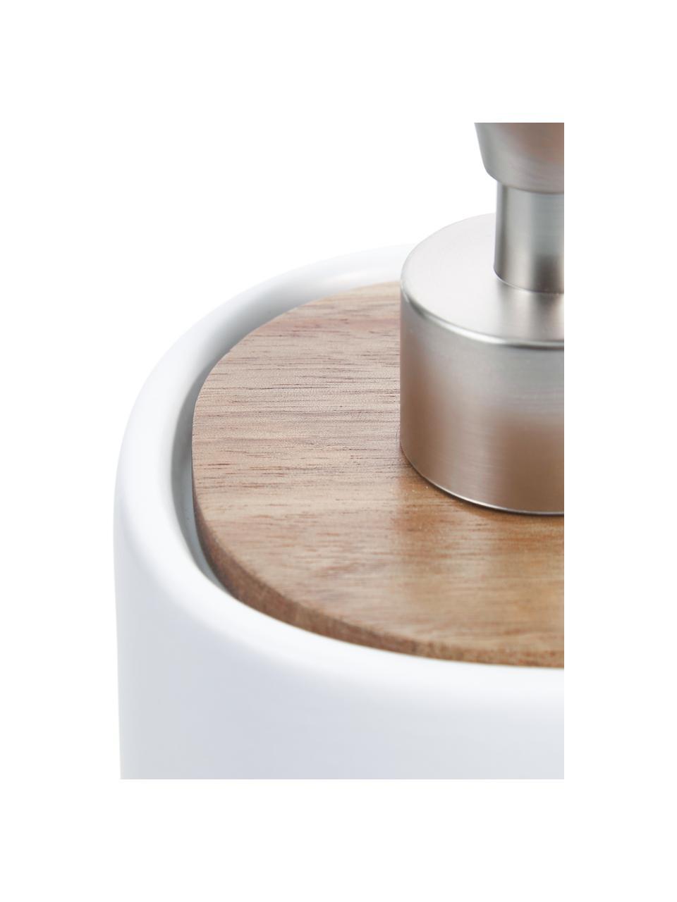 Dosatore di sapone Wili, Contenitore: ceramica, Coperchio: legno d'acacia, Testa della pompa: materiale sintetico, Bianco, legno d'acacia, Ø 10 x Alt. 14 cm