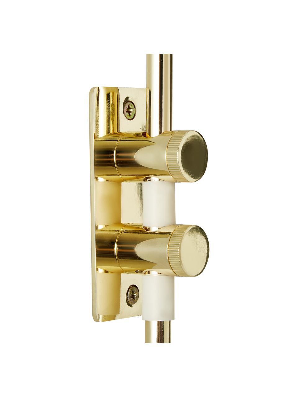 Applique con spina Isa, Paralume: miscela di cotone, Struttura: metallo, Base della lampada: dorato, lucido Paralume: bianco, Larg. 12 x Alt. 38 cm