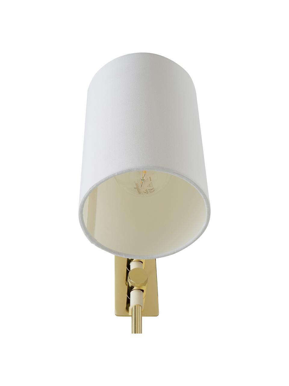 Wandleuchte Isa mit Stecker, Lampenschirm: Baumwollgemisch, Gestell: Metall, Lampengestell:Goldfarben, glänzendLampenschirm:Weiß, 12 x 38 cm