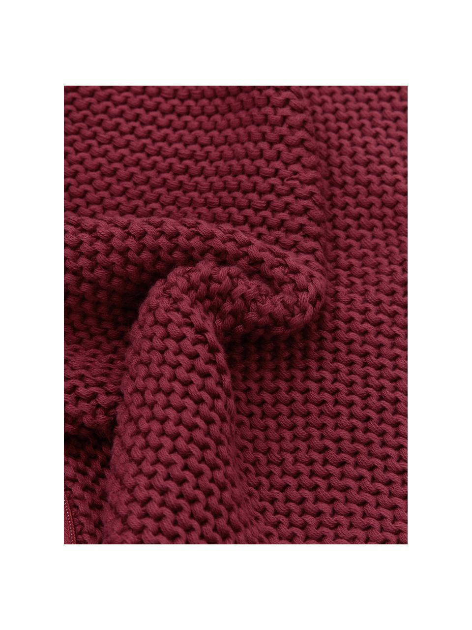 Strick-Kissenhülle Adalyn aus Bio-Baumwolle in Dunkelrot, 100% Bio-Baumwolle, GOTS-zertifiziert, Dunkelrot, 40 x 40 cm