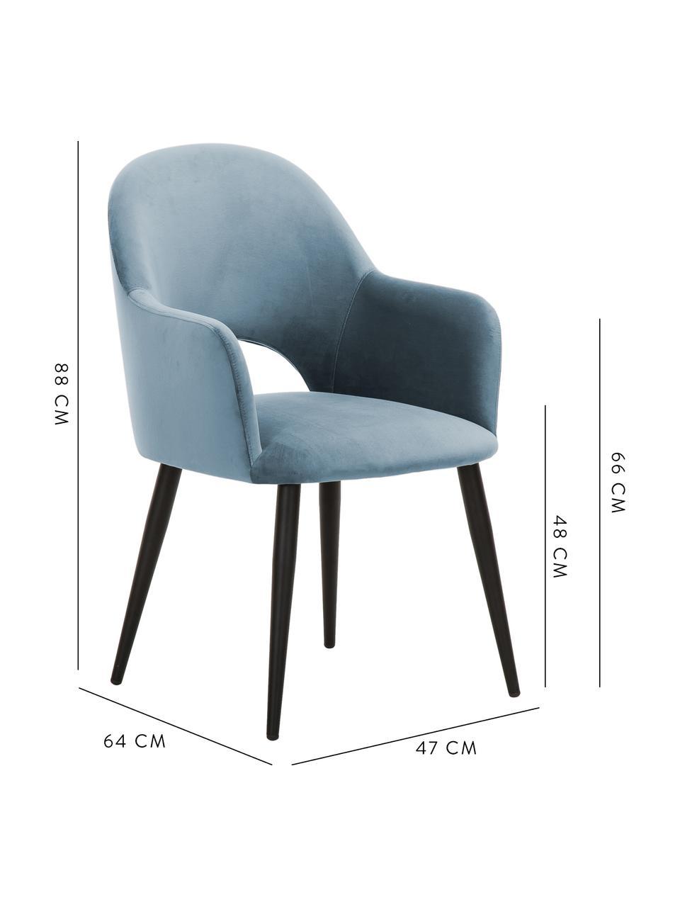 Sedia con braccioli in velluto azzurro Rachel, Rivestimento: velluto (poliestere) Il r, Gambe: metallo verniciato a polv, Velluto azzurro, Larg. 64 x Prof. 47 cm