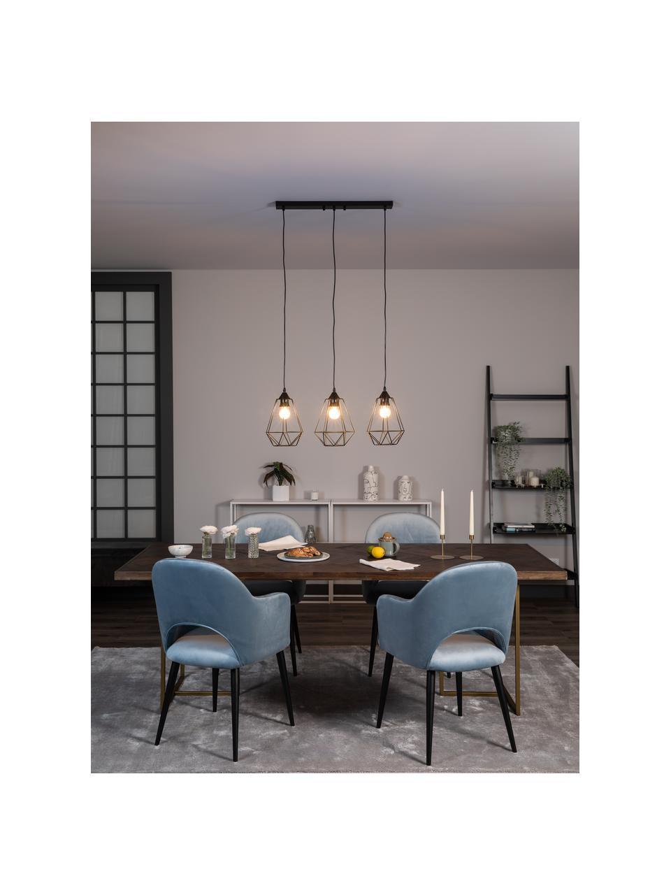 Lampa wisząca w stylu industrialnym Wire, Osłona mocowania sufitowego: czarny Klosz: czarny Kabel: czarny, S 75 x W 25 cm