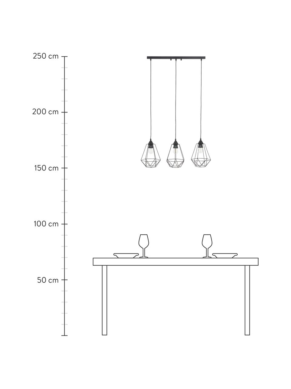 Suspension industrielle 3 lampesWire, Rosace: noirAbat-jour: noirCâble: noir